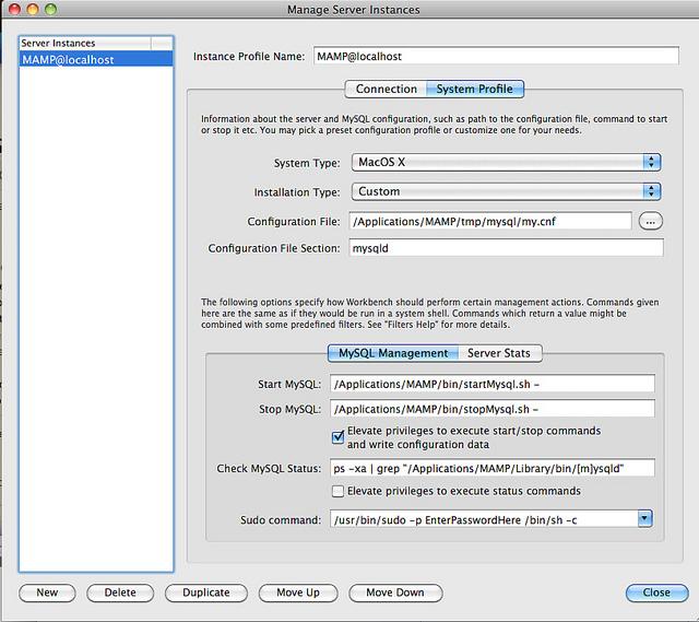 MySQL Workbench MAMP System Profile Settings Tab