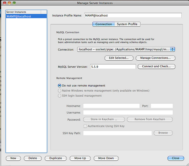 MySQL Workbench MAMP Connection Settings
